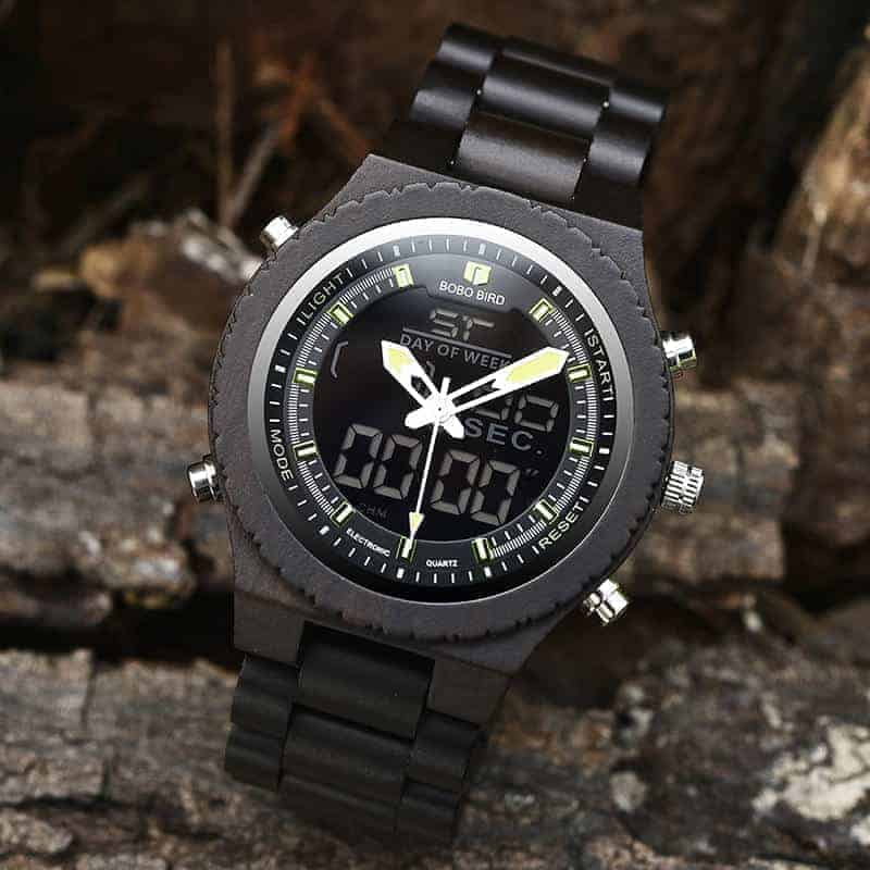 Wooden Watches for Men Ebony Wood Dual Display Quartz Watch for Men LED Digital Army Military Sport Wristwatch P02-2-5