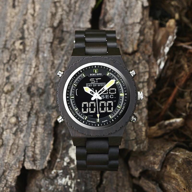 Wooden Watches for Men Ebony Wood Dual Display Quartz Watch for Men LED Digital Army Military Sport Wristwatch P02-2-6