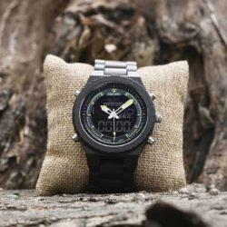 Wooden Watches for Men Ebony Wood Dual Display Quartz Watch for Men LED Digital Army Military Sport Wristwatch P02-2