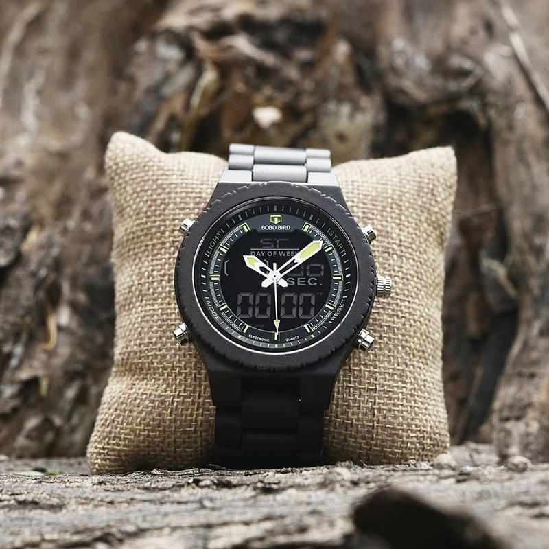 Wooden Watches for Men Ebony Wood Dual Display Quartz Watch for Men LED Digital Army Military Sport Wristwatch P02-2-7