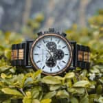 Classic Handmade Zebra Wood Watch Marbled Dial Men's Chronograph Wooden Watch - P09-4-1