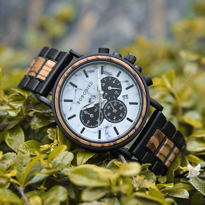 Classic Handmade Zebra Wood Watch Marbled Dial Men's Chronograph Wooden Watch - P09-4-2