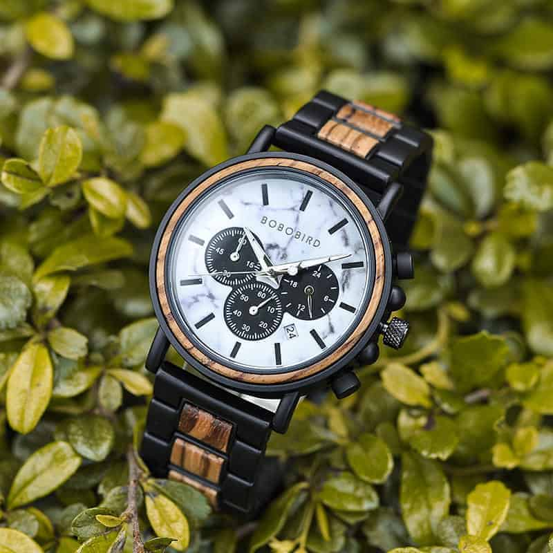 Classic Handmade Zebra Wood Watch Marbled Dial Men's Chronograph Wooden Watch - P09-4-4