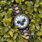 Classic Handmade Zebra Wood Watch Marbled Dial Men's Chronograph Wooden Watch - P09-4-5