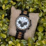 Classic Handmade Zebra Wood Watch Marbled Dial Men's Chronograph Wooden Watch - P09-4-6