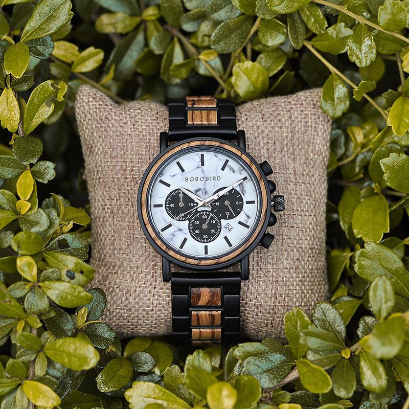 Classic Handmade Zebra Wood Watch Marbled Dial Men's Chronograph Wooden Watch - P09-4-7
