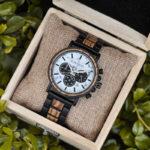 Classic Handmade Zebra Wood Watch Marbled Dial Men's Chronograph Wooden Watch - P09-4-8