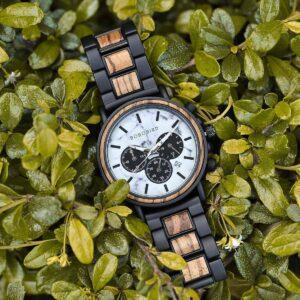 Classic Handmade Zebra Wood Watch Marbled Dial Men's Chronograph Wooden Watch