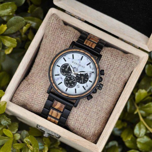 Classic Handmade Zebra Wood Watch Marbled Dial Men's Chronograph Wooden Watch - P09-4