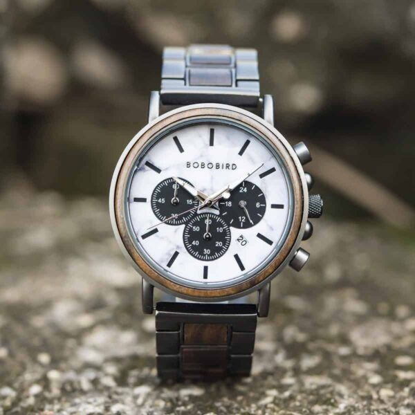 Classic Natural Ebony & Marble Handmade Mens Wooden Watch - Aurora