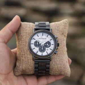 Classic Natural Ebony & Marble Handmade Mens Wooden Watch - Aurora P09-5