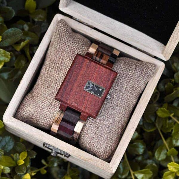 Men's Unique Fashion Colorful Square Quartz Casual Retro Wooden Watches Luxury Quartz Wristwatches R23-2