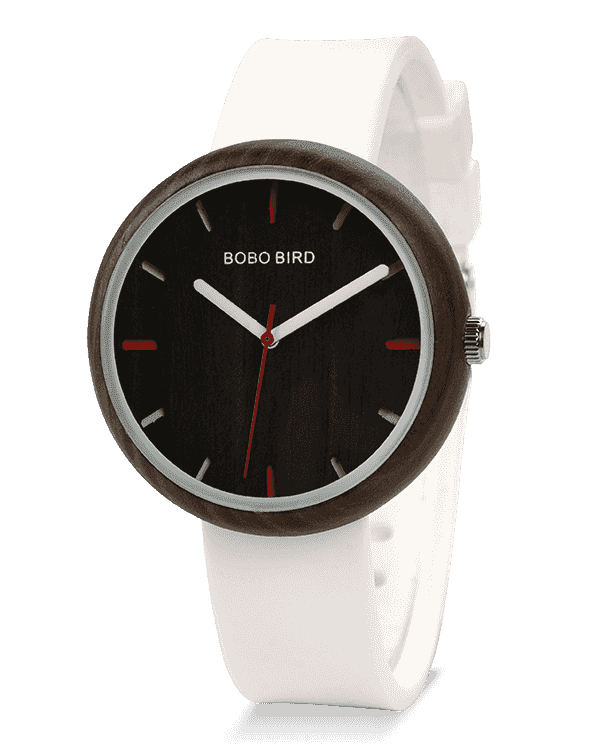 Simple White Silicone Band Women Wood Watch R28-2