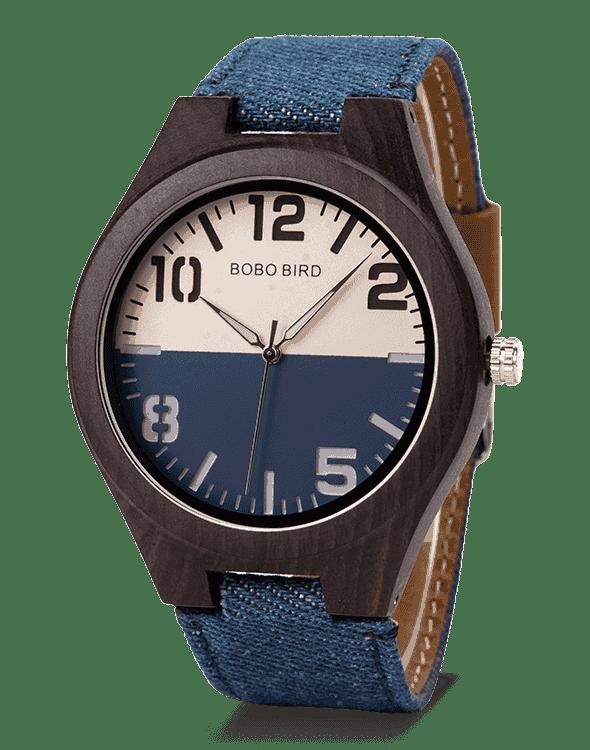 Stylish Lover Blue Fabric Strap Women Wood Watch