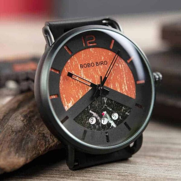 Fashion Stainless Steel Red Sandalwood Watch R30-1