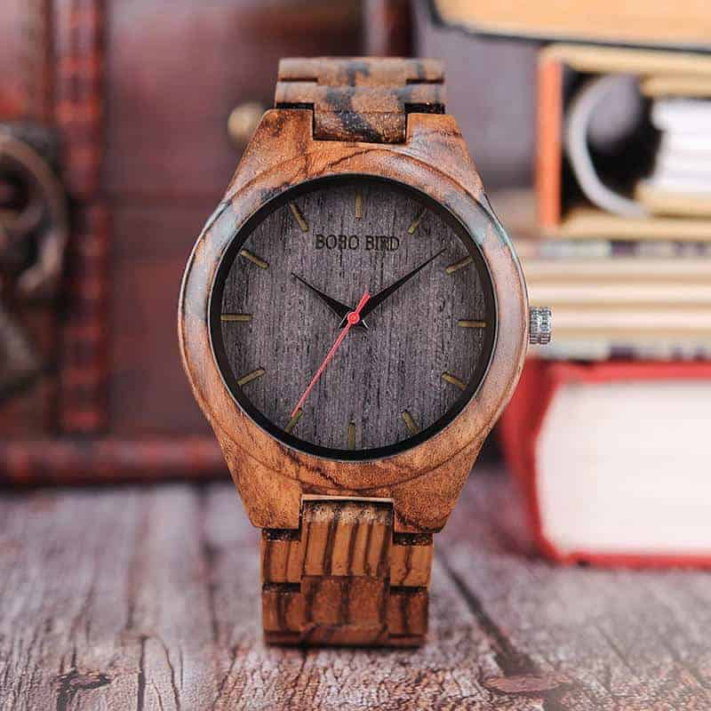 Trendy Casual Resin Round Dial Zebra Wood Watch Q05-2