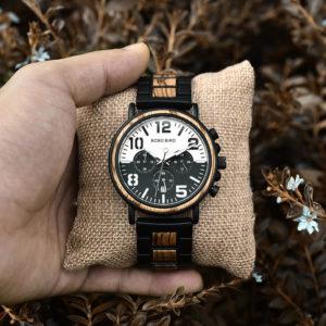 Men's Zebra Wooden Quartz Chronograph Japanese Movement - Twilight R25-1