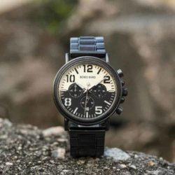 Mens Unique Chronograph Ebony Engrave Wooden Watches - Twilight R25-2