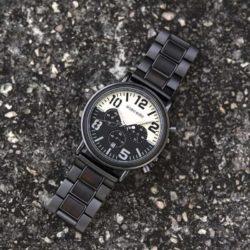 Mens Unique Chronograph Ebony Engrave Wooden Watches - Twilight