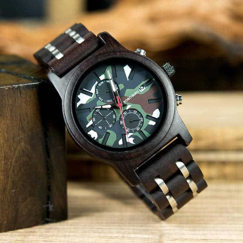 Ebony Military Chronograph Wristwatch 4
