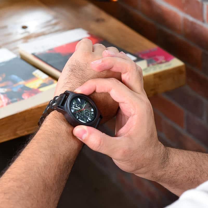 Ebony Military Chronograph Wristwatch