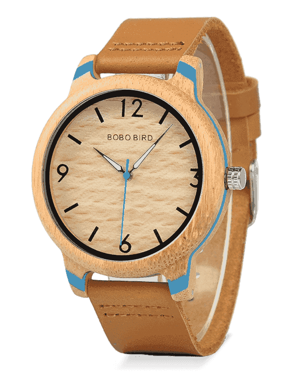 Decent Gift Leather Strap Men's Wooden Watch for Him Q22-2