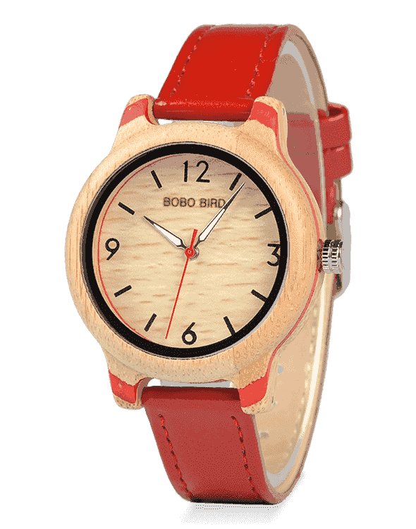 Decent Gift Leather Strap Ladies Wooden Watch for Her Q22-3
