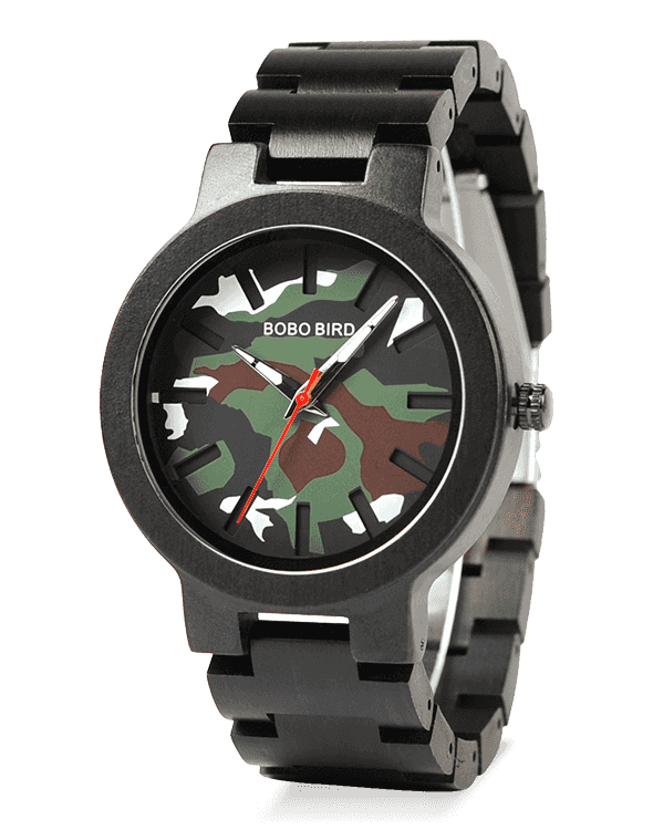 Timepieces Camouflage Military Wood Watch R16