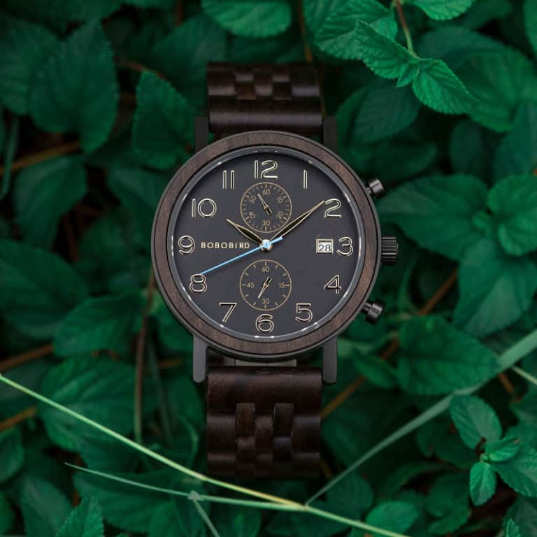 Men's Classic Handmade Maple Wooden Watch Natural Wooden Dial with Date Display Chronograph Watches S08 -1