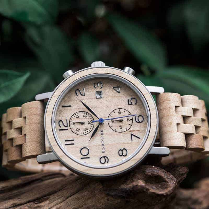 Men's Classic Handmade Maple Wooden Watch Natural Wooden Dial with Date Display Chronograph Watches s08