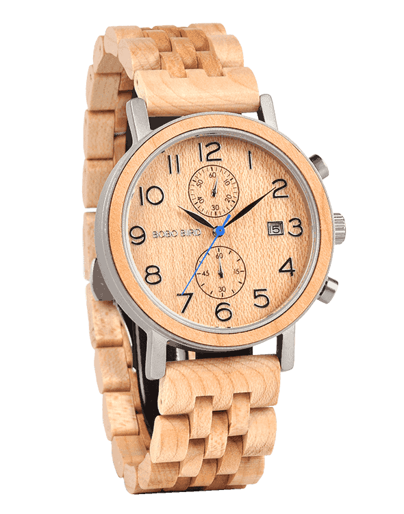 Men's Classic Handmade Maple Wooden Watch Natural Wooden Dial with Date Display Chronograph Watches - Socrates S08-2