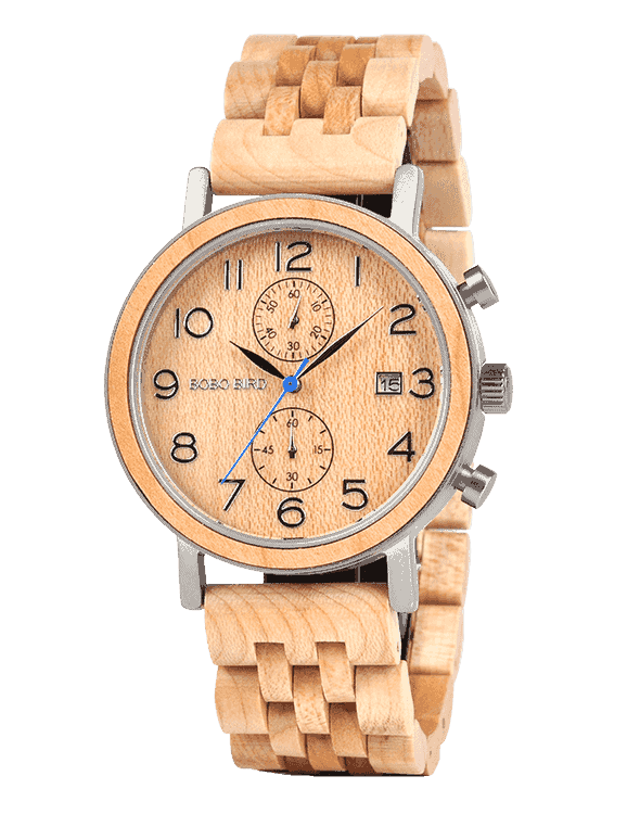 Mens wooden watches Maple & Handmade Wooden Watches by BOBO BIRD S08-2