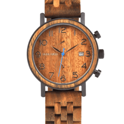 Men's Classic Handmade Maple Wooden Watch Natural Wooden Dial with Date Display Chronograph Watches - Socrates S08-3