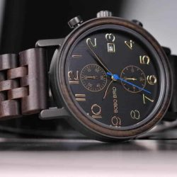Men's Classic Handmade Ebony Wooden Watch Natural Wooden Dial with Date Display Chronograph Watches - Socrates S08-1