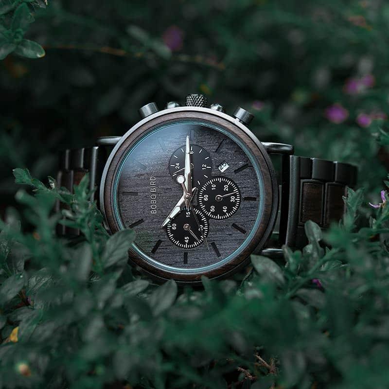 bobo bird wooden watches for men Piton - Ebony Wood Q26-1