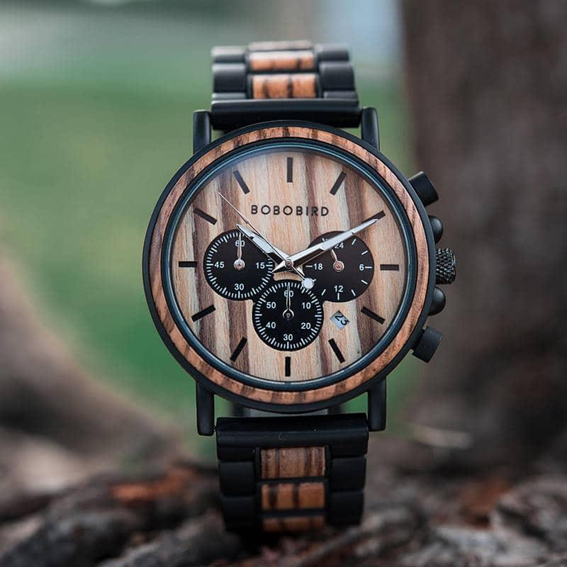 Classic Handmade Zebrawood Mens Wooden Watch - Shine P09-1