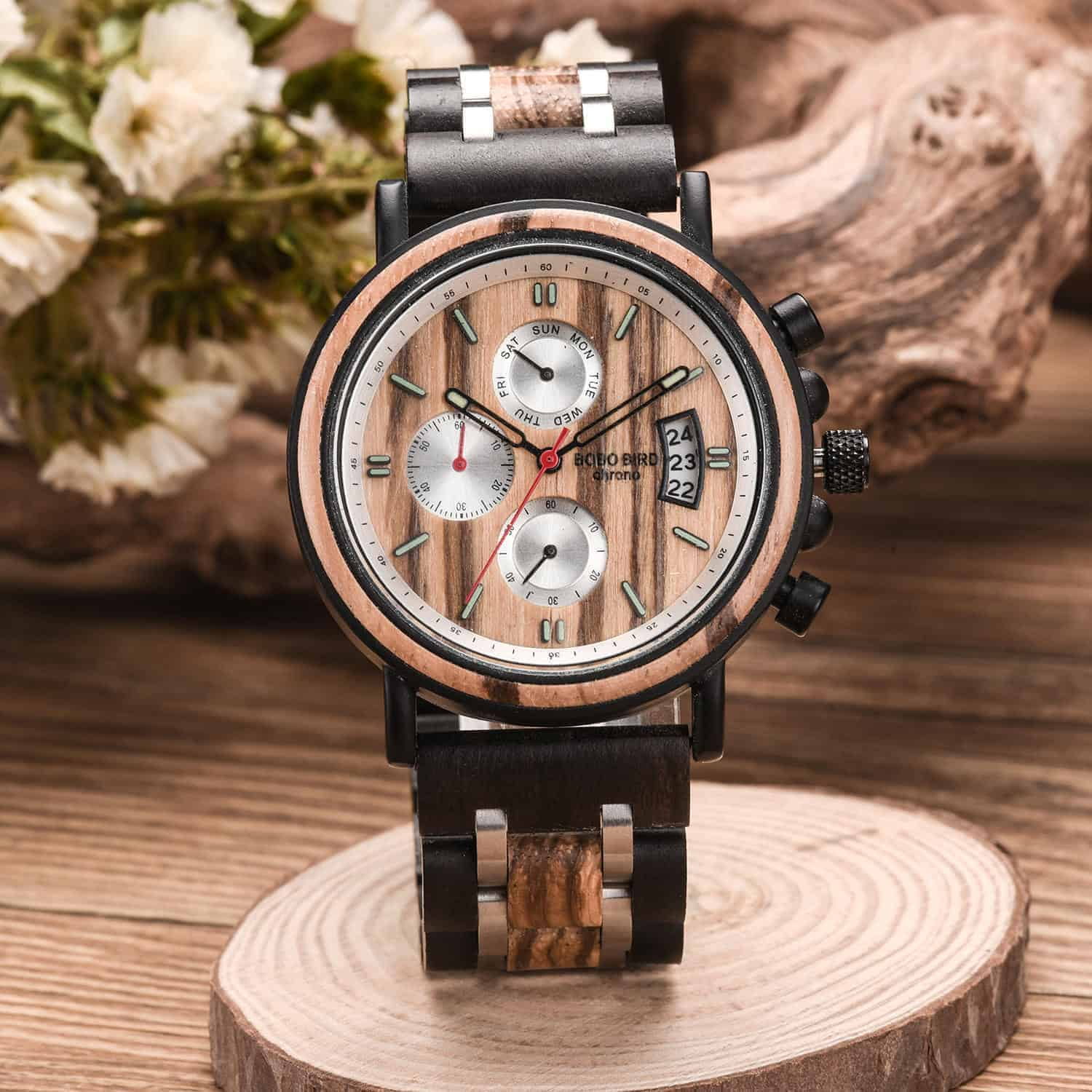 Handmade Zebrawood & Stainless Steel Combined Chronograph Mens Wooden Watch - Galahad