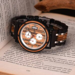 Handmade Zebrawood & Stainless Steel Combined  Chronograph Mens Wooden Watch - Galahad S18-3