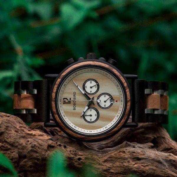 Handmade Original Wood Grain Wooden Watches for Men Ebony Stainless Steel Chronograph Watch - Peredur S18-2