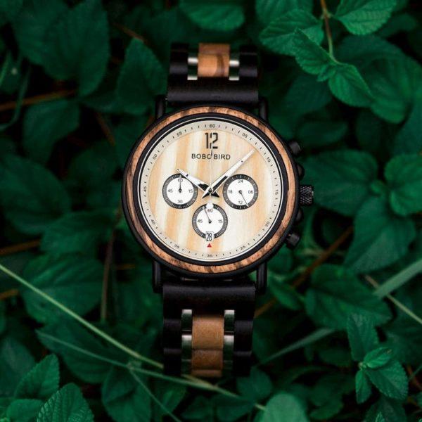 Handmade Original Wood Grain Wooden Watches for Men Ebony Stainless Steel Bracelet Chronograph Watch - Peredur S18-2