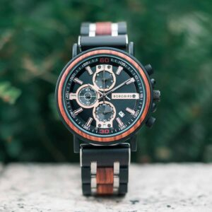 Personalized Engraved Wooden Watches fom Men padauk and silver Stainless Steel - King Arthur S18-1