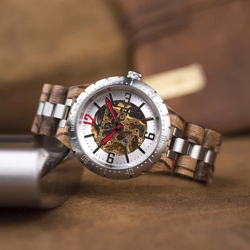 Premium Handcrafted Natural Zebra Wood Automatic Mechanical Movement Wooden Watches for Men Best Gift for Him - Gold S11-2