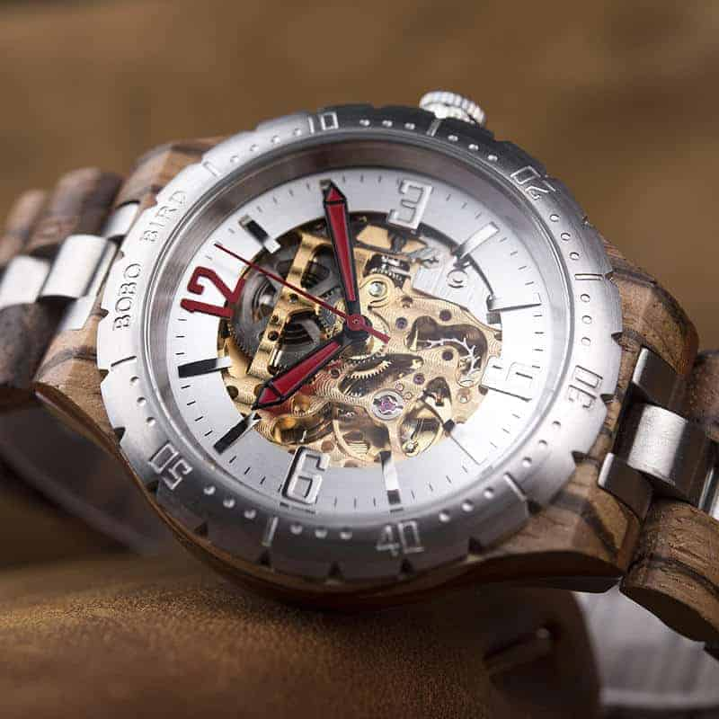 Premium Handcrafted Natural Zebra Wood Automatic Mechanical Movement Wooden Watches for Men Best Gift for Him - Gold S11-2-2