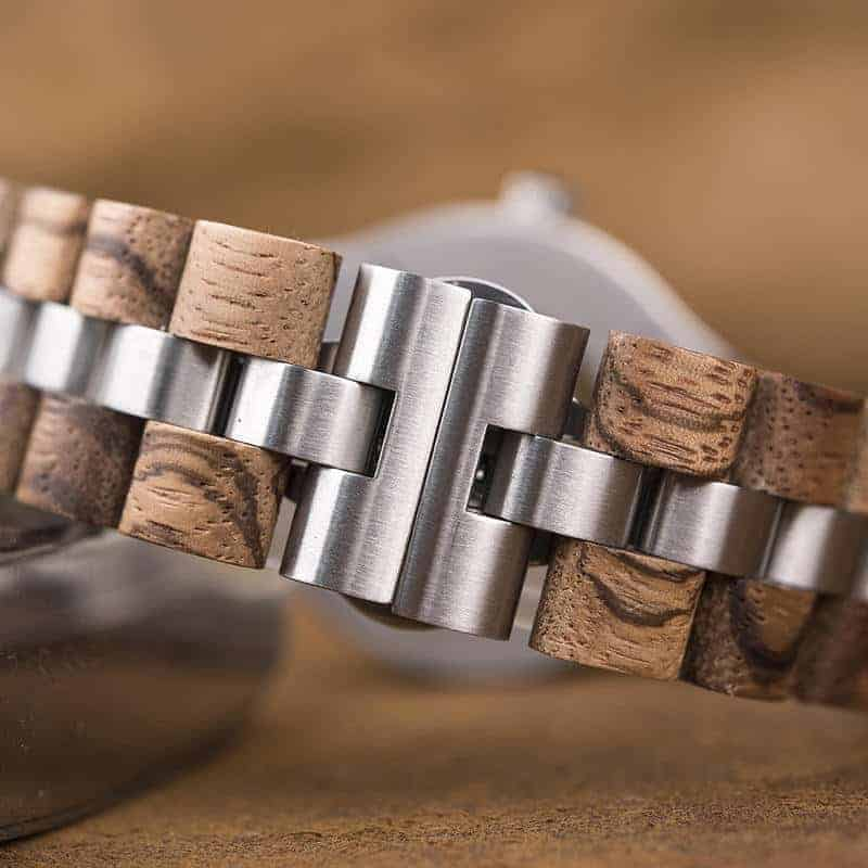 Premium Handcrafted Natural Zebra Wood Automatic Mechanical Movement Wooden Watches for Men Best Gift for Him - Gold S11-2-3