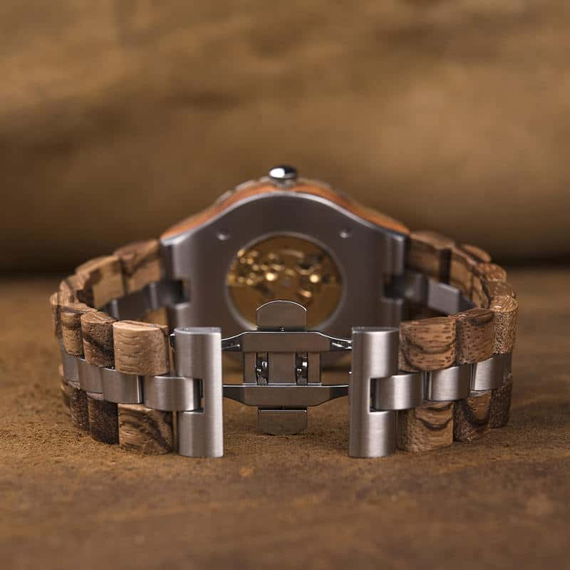 Premium Handcrafted Natural Zebra Wood Automatic Mechanical Movement Wooden Watches for Men Best Gift for Him - Gold S11-2-4