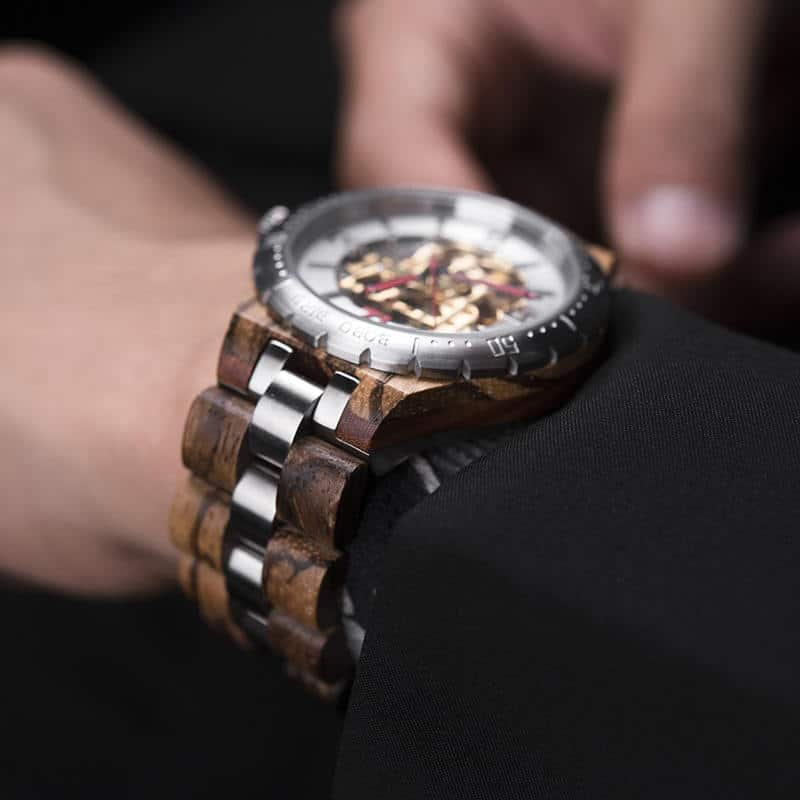 Premium Handcrafted Natural Zebra Wood Automatic Mechanical Movement Wooden Watches for Men Best Gift for Him - Gold S11-2-6