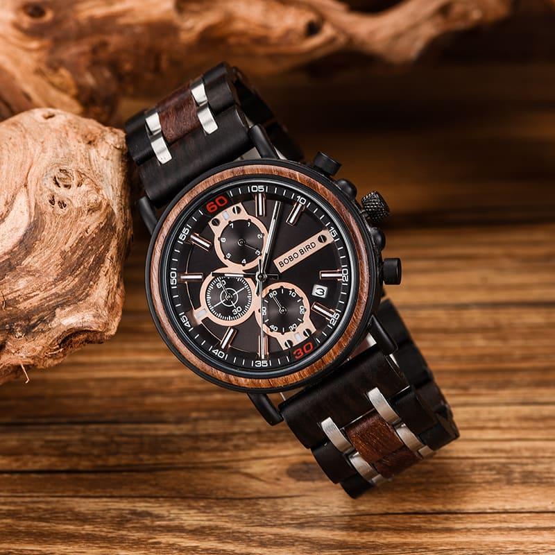 bobo bird wooden watches for men Arthur - Red sandalwood S18-1-5