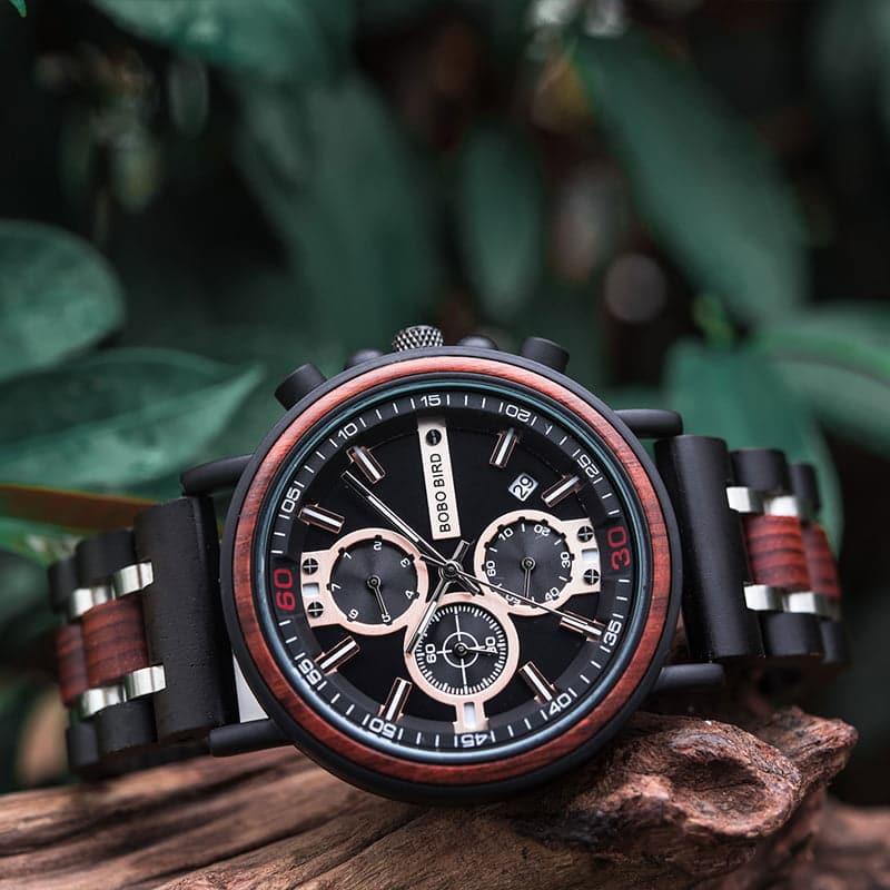 bobo bird wooden watches for men Arthur - Red sandalwood S18-1