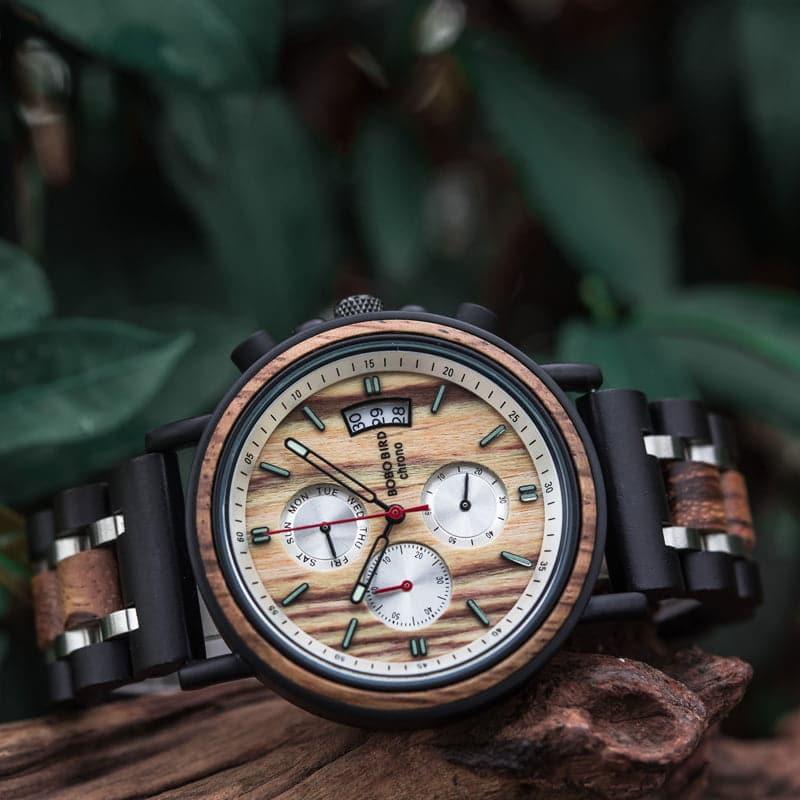 bobo bird wooden watches for men Gareth - Zebrawood S18-3