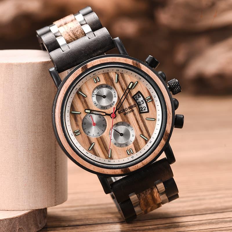 bobo bird wooden watches for men Gareth - Zebrawood S18-3-1